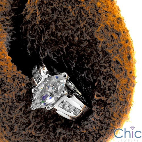 Engagement 2 Ct Marquise Cubic Zirconia Cz Ring