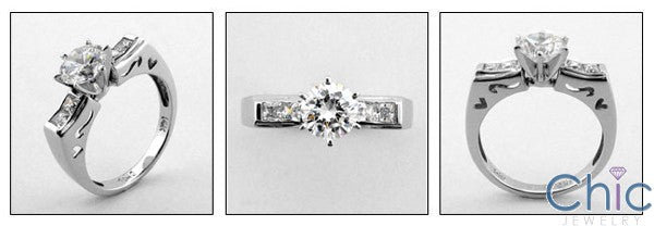 Engagement 1 Ct Round Center Flat top Cubic Zirconia Cz Ring