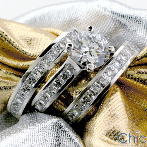 Matching Set 1.5 Round Center & Ct Princess Channel Wedding Cubic Zirconia Cz Ring