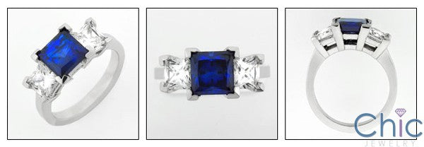 3 Stone 1 Ct . Sapphire Princess Diamond Princess on Cubic Zirconia Cz Ring