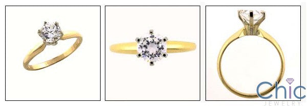 Solitaire 1.5 Round Stone Engagement Cubic Zirconia Cz Ring