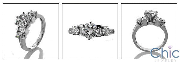 Engagement Round Center 1 Ct Channeled Baguettes Ct Round Cubic Zirconia Cz Ring