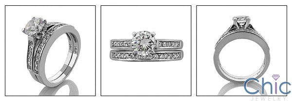 Matching Set 1 Ct Round Center 4 Prong Cubic Zirconia Cz Ring