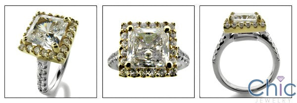 Engagement 3 Ct Princess Yellow Gold Halo Cubic Zirconia Cz Ring