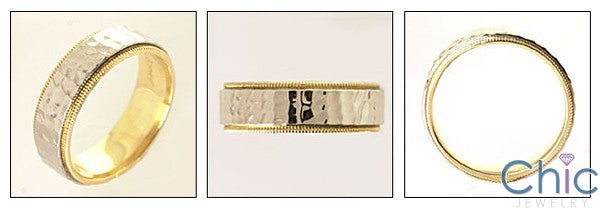 Mens 14K Two Tone Gold Hammered Finish Band
