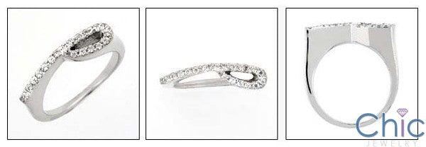 Fine Jewelry Thin Pave Stackable Cubic Zirconia Cz Ring