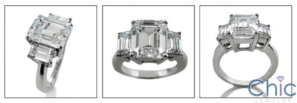 3 Stone 4 Ct Emerald Cut Center 1 Ct Sides Cubic Zirconia 14k White Gold Ring