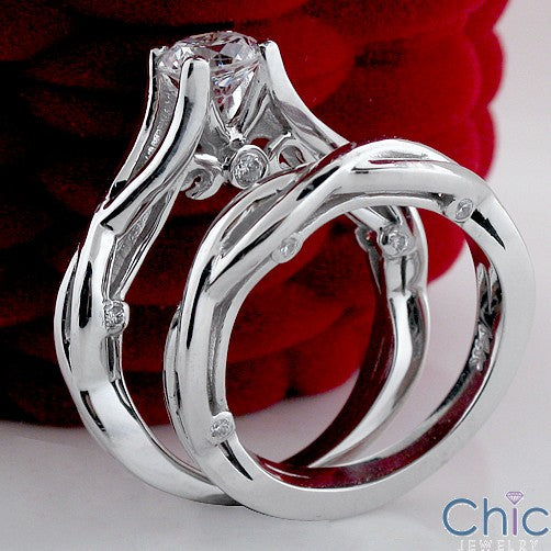 Engagement High End CZ 0.75 Round Center Cubic Zirconia Cz Ring
