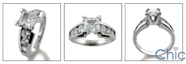 Engagement 0.75 Princess Center Round Channel Cubic Zirconia Cz Ring