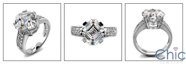 Engagement Asscher 4 Ct Center Pave Cubic Zirconia Cz Ring