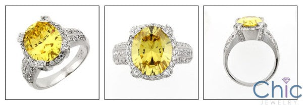 Estate 6 Ct Canary Oval Cubic Zirconia Cz Ring