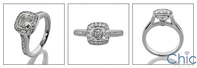 Engagement Half Ct Cushion Bezel Pave Cubic Zirconia Cz Ring