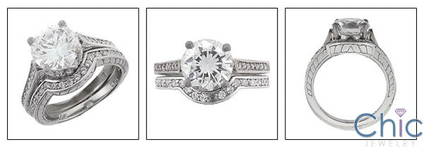 Matching Set 2.5 Round Center Curved Engraved Cubic Zirconia Cz Ring