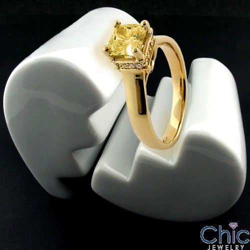 Engagement 1 Ct . Yellow Color Princess Cubic Zirconia Cz Ring