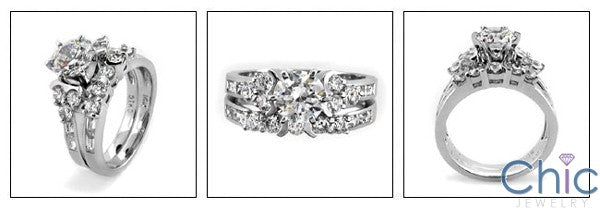 Matching Set 2.06 TCW Round Center Cubic Zirconia Cz Ring