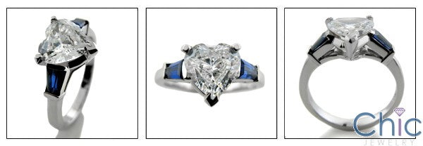 3 Stone 2 Ct Heart Sapphire Baguettes in Channel Cubic Zirconia Cz Ring
