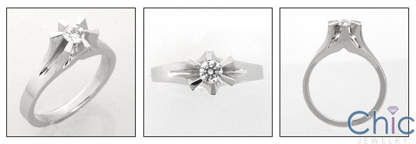 Flower Style .30 Carat Round Center Cubic Zirconia Promise Ring 14K White Gold