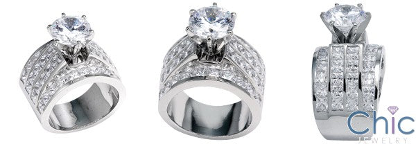 Engagement 15mm Wide Ring 2.75 Round Cubic Zirconia Center Channel Princess Sides 14K White Gold
