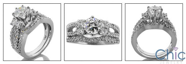 Matching Set 1 Ct Round Center Stone Ct Pave Curved Cubic Zirconia Cz Ring
