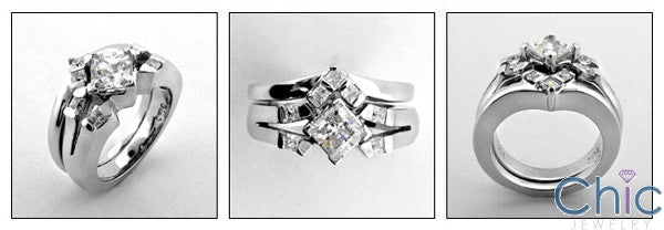 Matching Set .75 Princess Center Suited Channel Cubic Zirconia Cz Ring