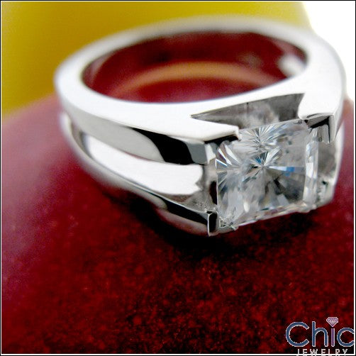 Solitaire 0.75 Princess Center Plain Cubic Zirconia Cz Ring