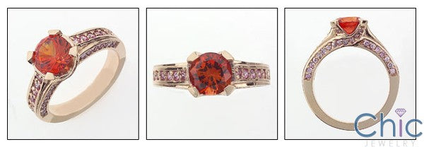 Fine Jewelry 1.5 Orange Center Rosae Gold Ct Pink Pave Cubic Zirconia Cz Ring