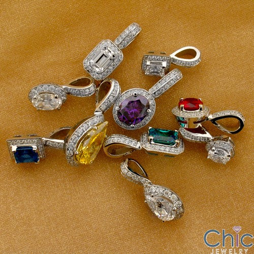 Cubic Zirconia Cz .60 Princess Halo Ct Bail Pendant
