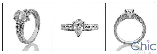 Solitaire 1 Ct Pear shape Engraved Shank Cubic Zirconia Cz Ring