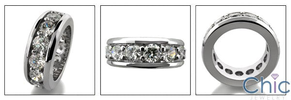 Mens Cubic Zirconia Eternity Ring Solid 14K White Gold