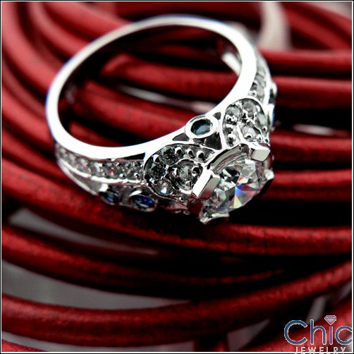 Anniversary 0.65 Round Center Bezel Pave Cubic Zirconia Cz Ring