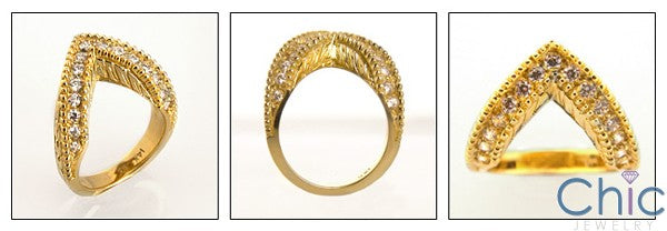 Estate V Shaped Pave Cubic Zirconia 14K Yellow Gold Ring