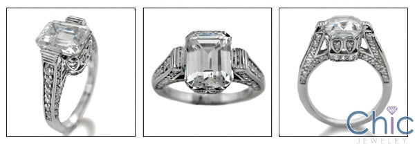 Engagement 3 Ct Emerald Cut CZ Pave Cubic Zirconia Engagement Ring 14K White Gold