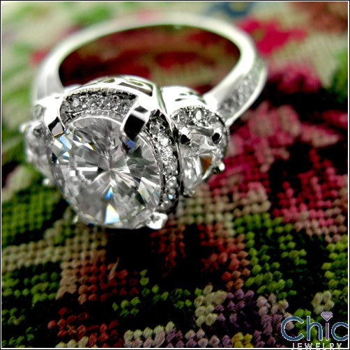 3 Ct Oval and Half Moon Cubic Zirconia 14K White Gold Engagement Ring