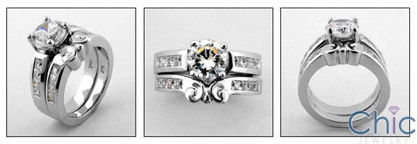Matching Set 1.5 Round Center Fitted Channel Cubic Zirconia Cz Ring
