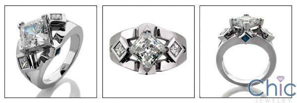 Engagement Princess 1.5 Ct Cubic Zirconia Center Bezeled Sides 14k White Gold CZ Ring