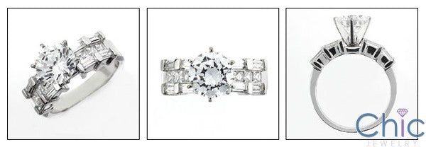 Engagement 2 Ct Round Center channel set Cubic Zirconia Cz Ring