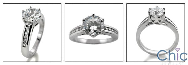 Engagement 1.5 Round Center Channel Set Round Cubic Zirconia Cz Ring