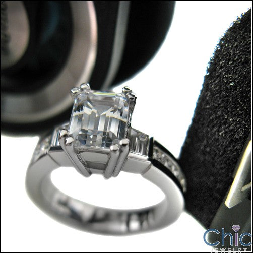 Engagement 1.5 Emerald Center Channel Cubic Zirconia Cz Ring