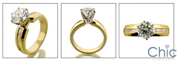 Cubic Zirconia Engagement 1.25 Round Channel Baguette Yellow Gold Cz Ring