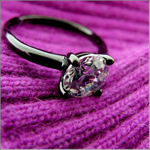 Solitaire 1.25 Round Cubic Zirconia Engagement Black Rhodium Gold Ring