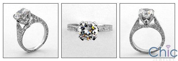 Engagement 2 Ct Round Pave Set Prongs Ct Shank Cubic Zirconia Cz Ring