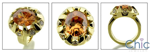 Anniversary 5 Ct Oval Tea Topaz Color Cubic Zirconia Cz Ring