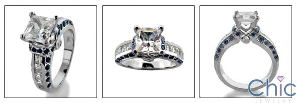Engagement 1 Carat Cubic Zirconia Princess Center Channel Sides Sapphire Pave 14K White Gold Ring