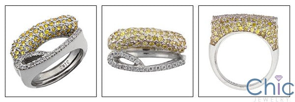 Fine Jewelry Canary Ct Diamond pave stackable Cubic Zirconia Cz Ring