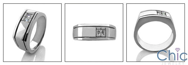 Mens 2 Channel Baguttes in Channel 8.5MM Wide Cubic Zirconia CZ Wedding Band