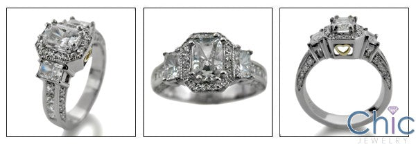 Radiant .75 Center CZ Stone Pave Channel Set 14K White Gold Cubic Zirconia Engagement Ring