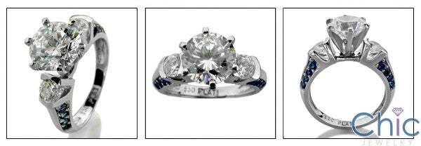 Engagement 1.5 Round Center Sapphire Pave Cubic Zirconia Cz Ring