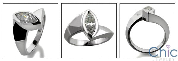 Solitaire 1 Ct Marquise Bezel Cubic Zirconia Cz Ring