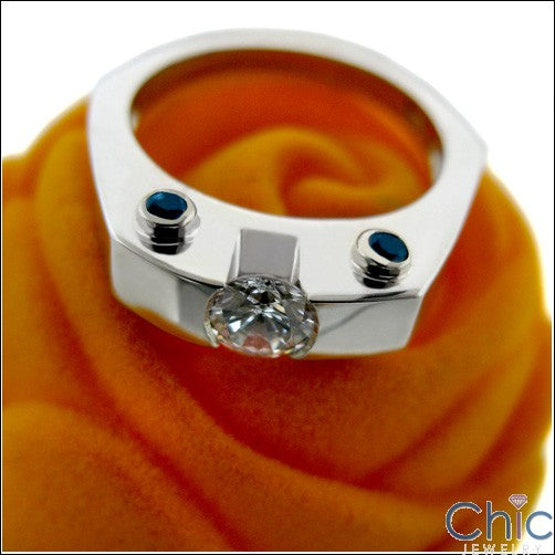 Half Carat RoundCubic Zirconia Channel Center 14k White Gold Ring