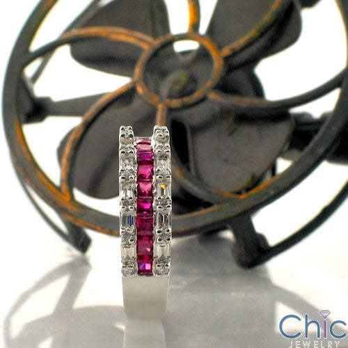 Anniversary 1.25 Ruby Princess Diamond Baguette Cubic Zirconia Cz Ring